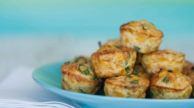 Spring onion and sweetcorn mini frittatas