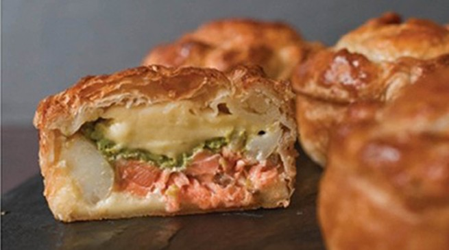 Salmon, pea and potato pies